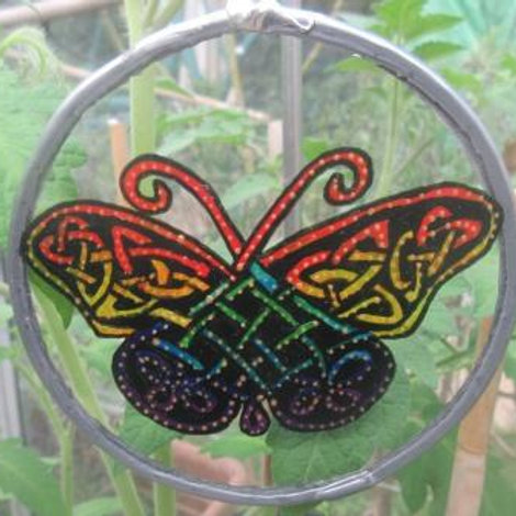 Suncatcher - Celtic Knot Butterfly in rainbow colours - small