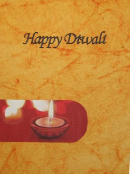 Diwali Card - Diya on orange background