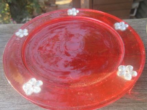 Glass coaster - hand painted in red with resin flowers