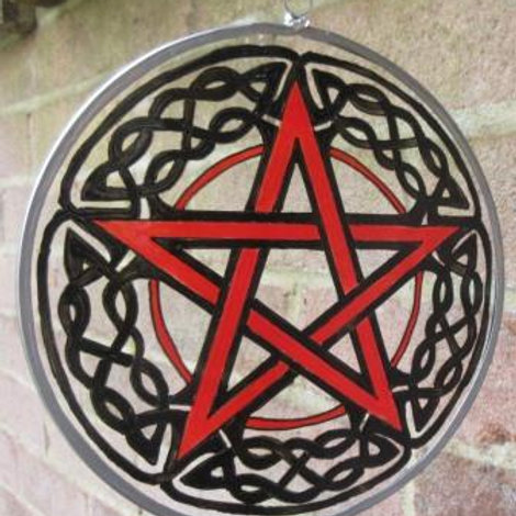 Pentagram with Black Celtic Knotwork border - Large