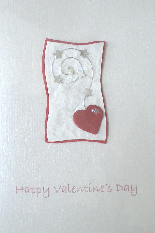 Valentine's Day Card with spiral and red heart