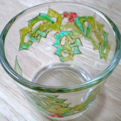 Tealight holder hand painted with Celtic Knot holly leaves and Berries
