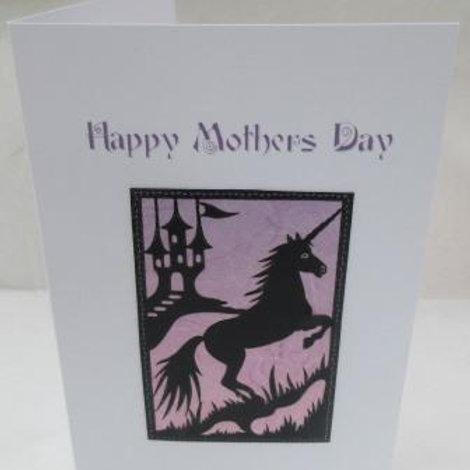 Mother's Day Card - Unicorn silhouette on purple background