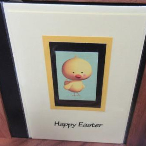 Easter Card - cute chick framed on yellow card