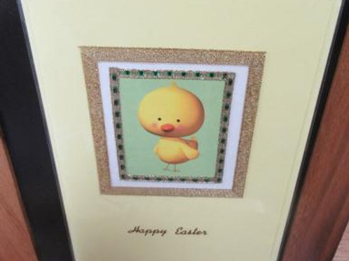 Easter Card - cute chick framed with gold and green borders