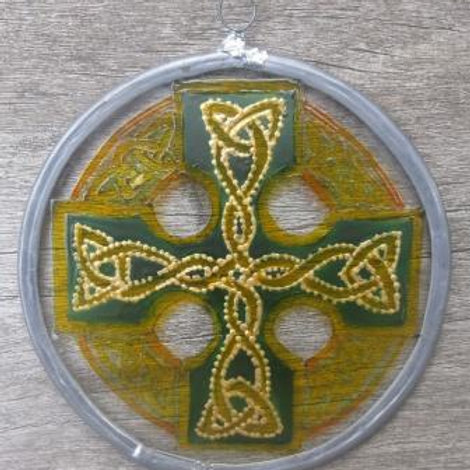 Suncatcher - Celtic Knot Cross in yellows , gold and greens