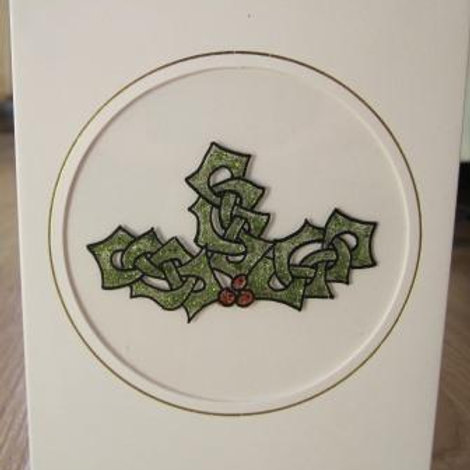 Christmas Card - Celtic Holly Sprig in Round aperture