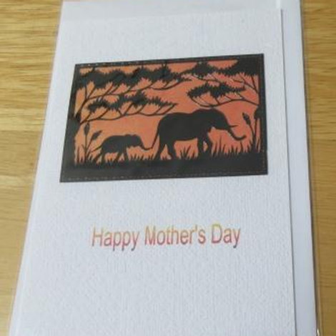 Mother's Day Card - Elephants mother & calf silhouette