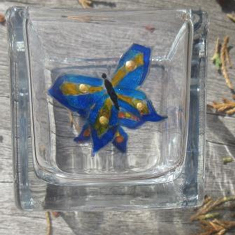 Square glass candle holder with two hand painted blue butterflies