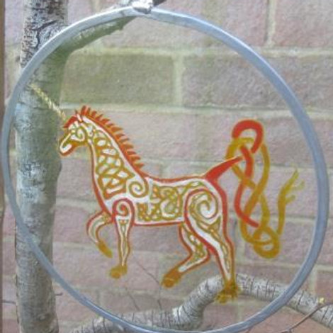 Celtic Knot Unicorn in white, amber and red  - Large