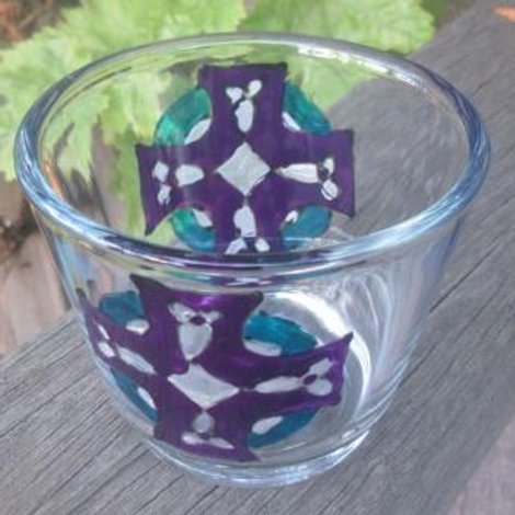 Tealight holder hand painted with Celtic Cross in White, Purple and Aqua