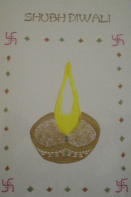 Diwali Card - Hand painted diya with Shubh Diwali in gold
