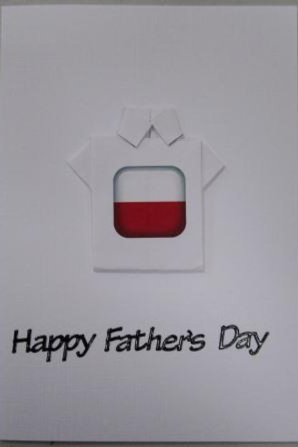 Father's Day Card - Origami Shirt with Poland flag