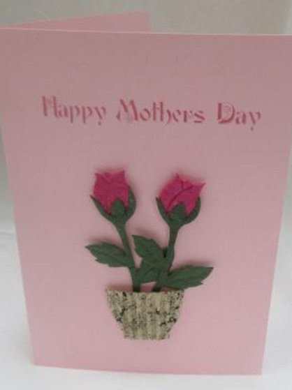 Mother's Day Card - Two dark pink roses in a pot