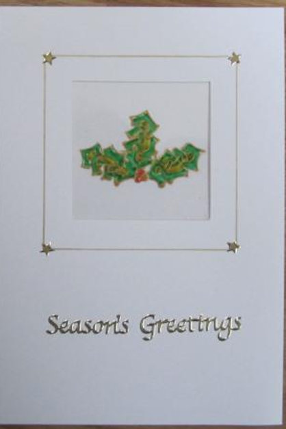 Christmas Card - Celtic Holly Sprig in Square aperture