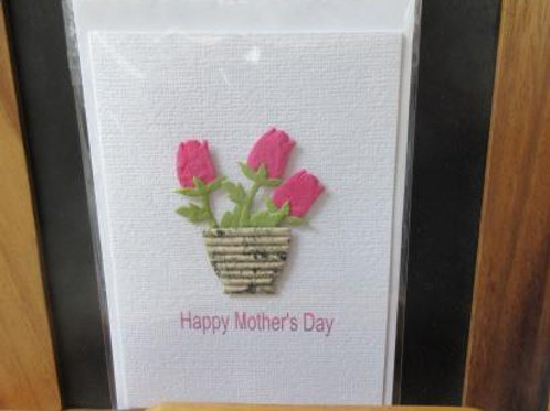 Mother's Day Card - three pink paper tulips in a large corrugated pot