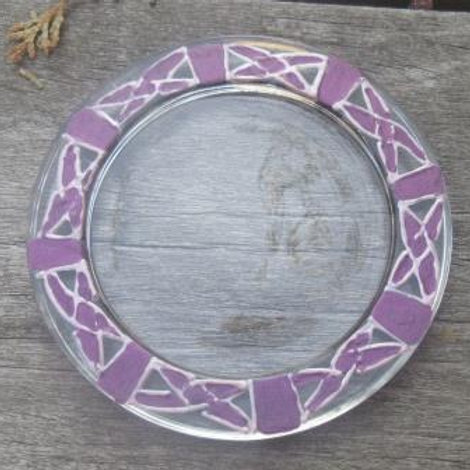 Glass coaster - hand painted Celtic Knots in purples