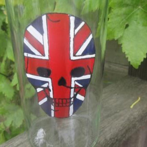 Hand painted Union Jack skull on bottle with stopper