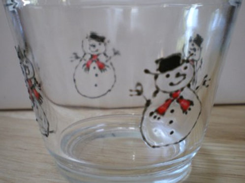 Tealight holder hand painted with Snowmen with black hats