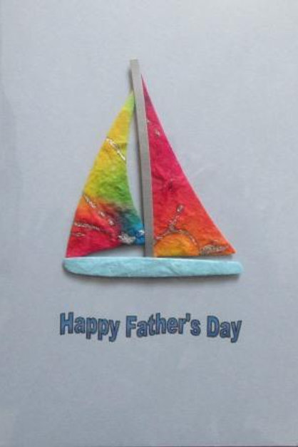 Father's Day Card - Boat made from mulberry handmade paper