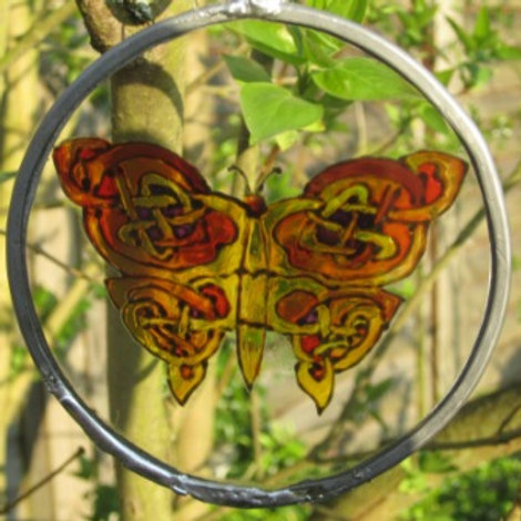 Suncatcher - Celtic Knot Butterfly in ambers, black and hint of purple - small