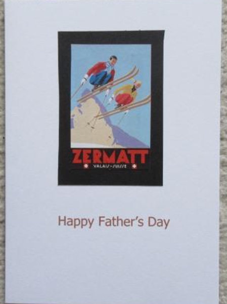 Father's Day Card - Classic Poster for Skiing at Zermatt