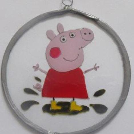 Peppa Pig splashing in puddle - Suncatcher - Small