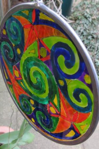 Spirals - Medium - Greens with yellow dots