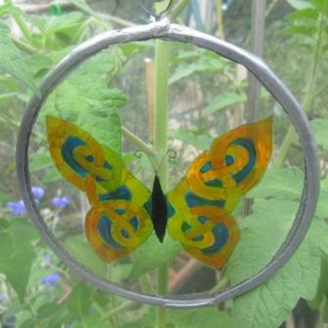 Suncatcher - Celtic Knot Butterfly with aqua, mint and yellow wings - small
