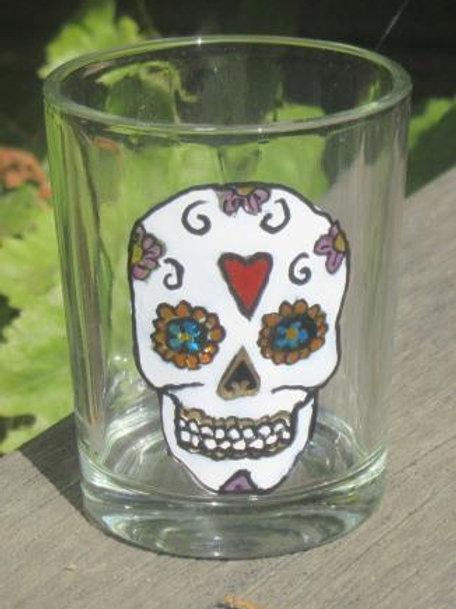 Sugar Skull Shot Glass or tea light - Heart with mauve flowers