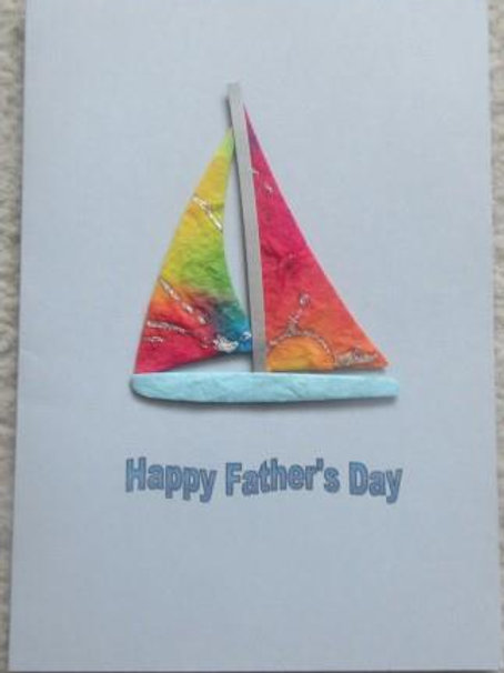 Father's Day Card - Bright Paper Sailing Boat