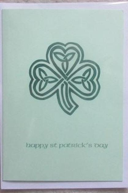 St Patrick's Day card - Celtic Shamrock with trinity knots