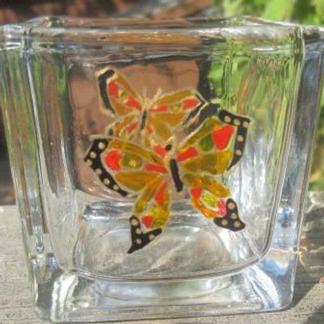Square light holder with hand painted butterfly with black tips