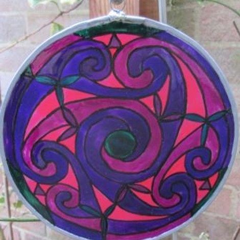 SOLD - Spirals - Large - Purples and pinks with green centre