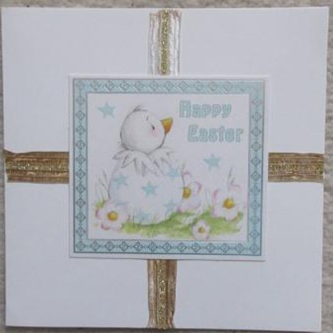 Easter Card - cute chick in blue star egg with gold ribbon