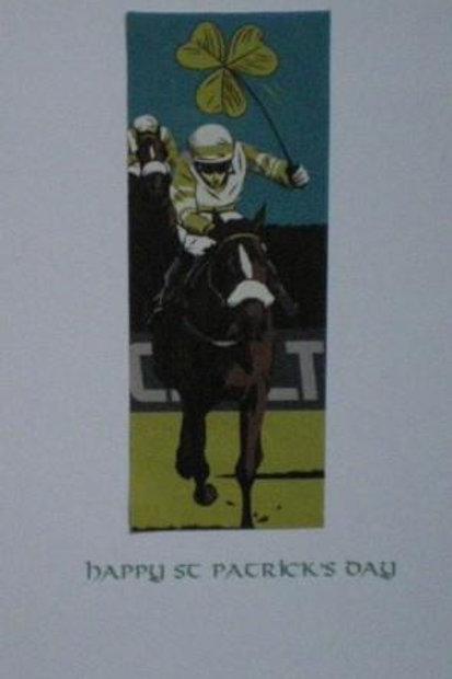 St Patrick's Day card - Jockey with shamrock whip