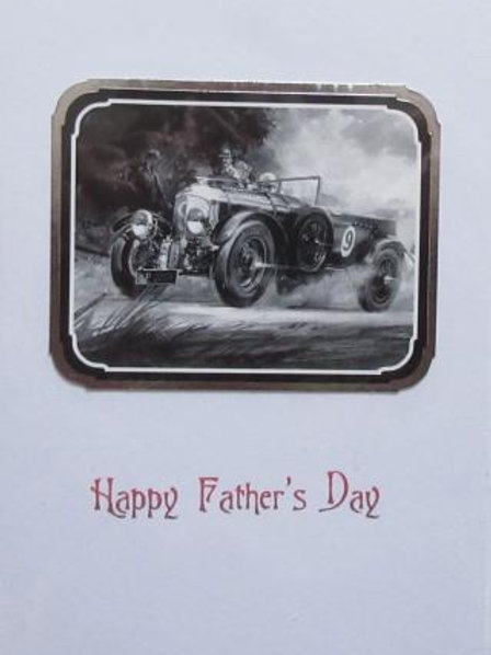Father's Day Card - Classic Racing Car black and white image