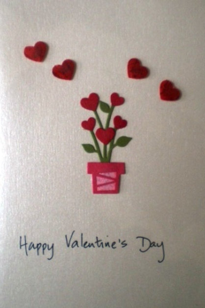 Valentine's Day Card with a pot of roses