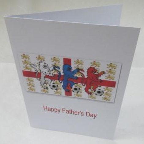 Father's Day Card -  Three Lions with footballs