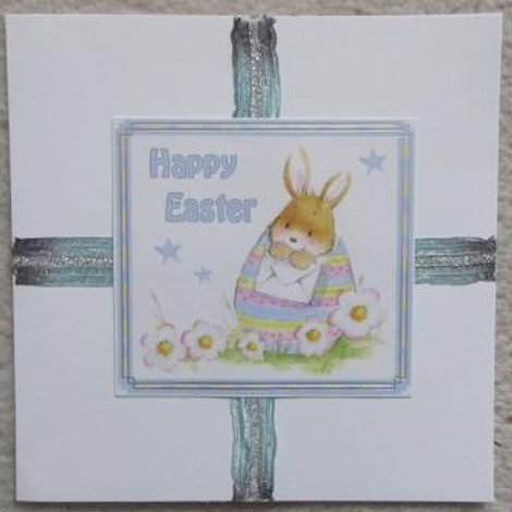 Easter Card - cute bunny in stripy egg with blue ribbon