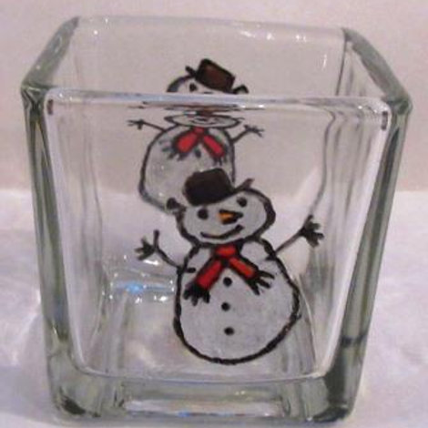 Square glass candle holder with hand painted happy snowmen