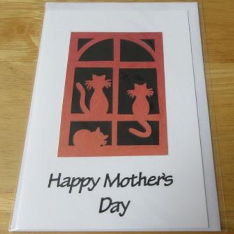 Mother's Day Card - Cats silhouette - black greeting