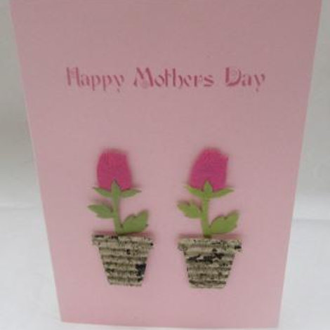 Mother's Day Card - two pink paper tulips in pots