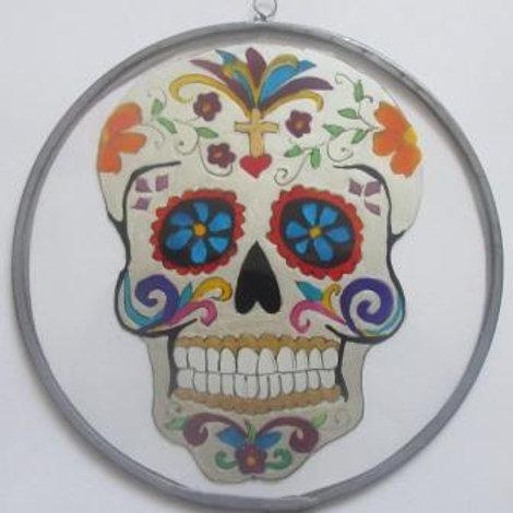 Sugar Skull Suncatcher with Blue flowers in eye sockets - pearl white