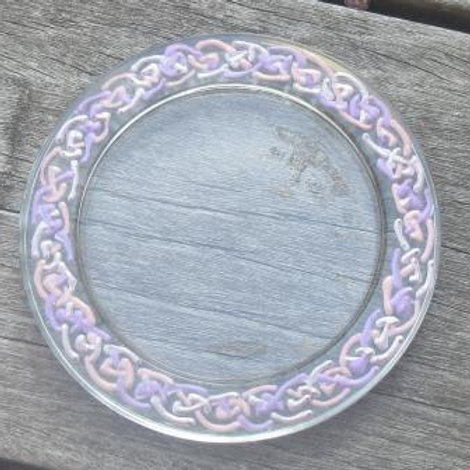 Glass coaster - hand painted Celtic Twist in pinks and violet