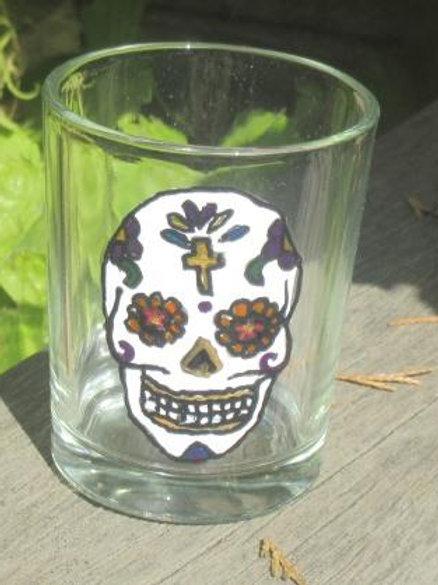 Sugar Skull Shot Glass or tea light - Cross with 6 petals