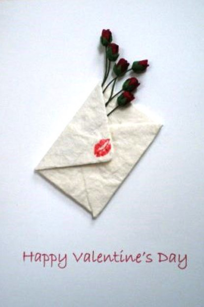 Valentine's Day Card with a envelope with kiss and roses