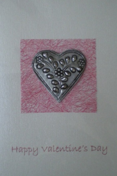 Valentine's Day Card with metal embossed heart