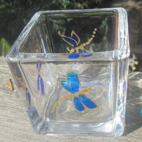 Square glass candle holder with 4 hand painted blue dragonflies