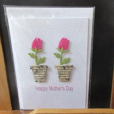 Mother's Day Card - two pink paper tulips in corrugated pots
